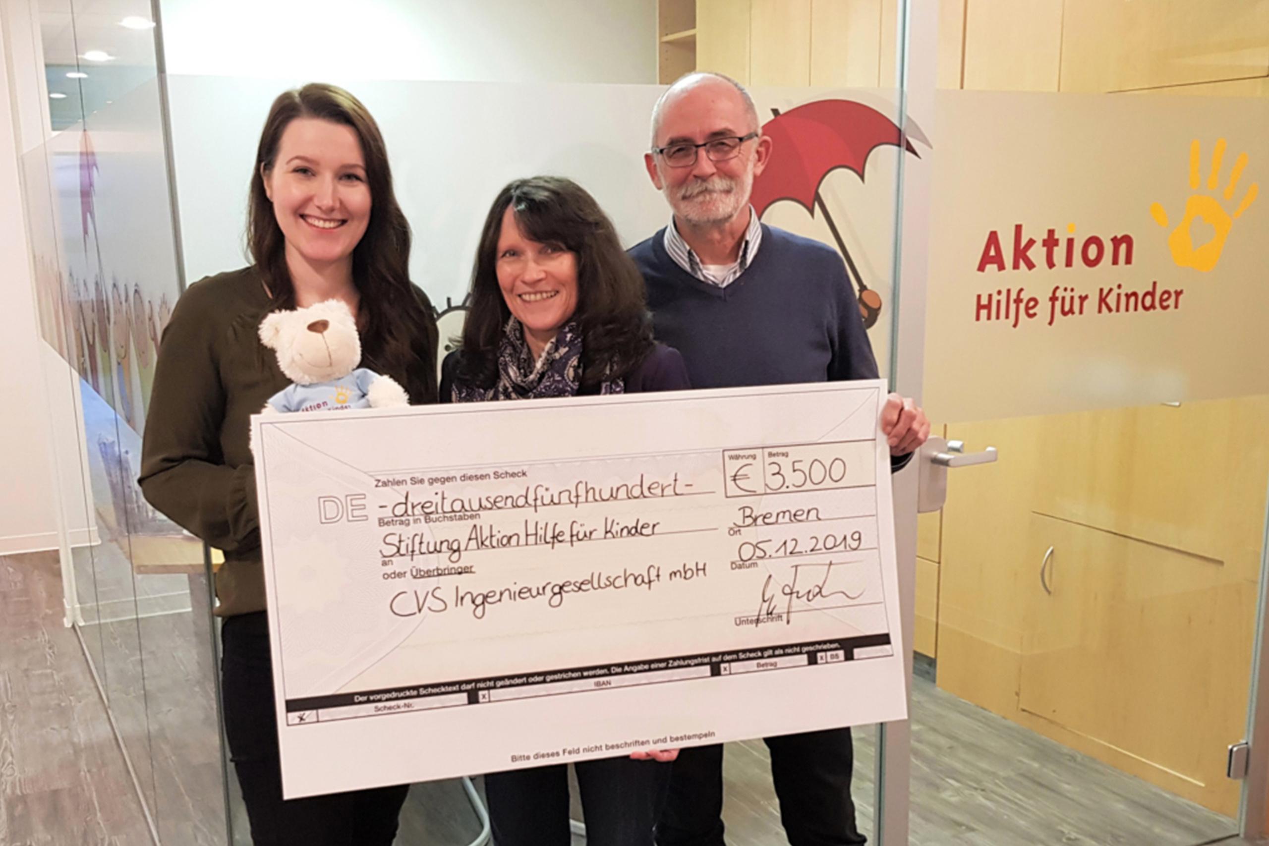 Spendenübergabe 2019 CVS Bremen bei Aktion Hilfe für Kinder